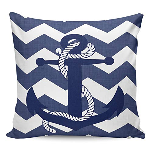 FarmBed Decorative Pillow Covers Nautical Anchor Throw Pillow Case Soft Square Cushion Cover for Couch/Sofa/Bed/Car/Home, Navy Blue and White Zigzag Striped 16x16in