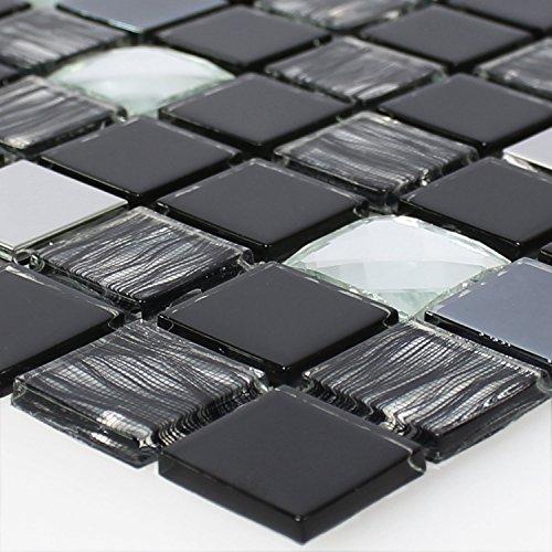 Glas Edelstahl Mosaikfliesen Selbstklebend Schwarz Silber
