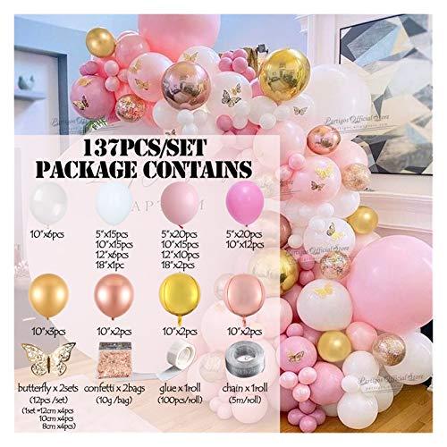 ZHENXIN Balloon 137Pcs Rose Gold Confetti Globos Macaron Pink Color Balloon Garland Arch Kit Set Butterfly Home Decors (Color : Butterfly garland)