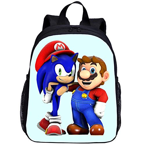 Mario VS Sonic Cartoon Toddler Girls Anime Niños Mochilas, Baby Boys Bookbag Niños Mochila Mochila 3D Mochila Escolar