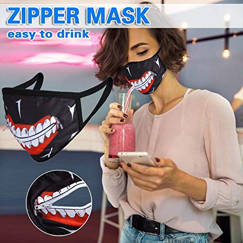 GENBREE Zipper Mouth Cover Tokyo Ghoul Kaneki Mouth Covering Anime Cosplay Mask Masquerade Party Jewelry Anti dust for Women Men (Anime)
