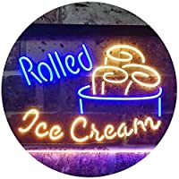 Rolled Ice Cream Shop Dual Color LED看板 ネオンプレート サイン 標識 青色 + 黄色 400 x 300mm st6s43-i3500-by