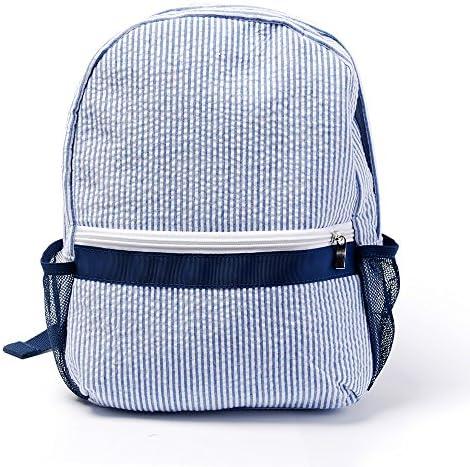 2 5 Years Seersucker Backpack Toddler Backpack Preppy Kids School Bookbag Navy product image