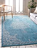 Unique Loom Outdoor Traditional Collection Classic Medallion Transitional Indoor and Outdoor Flatweave Teal  Area Rug (9' 0 x 12' 0)