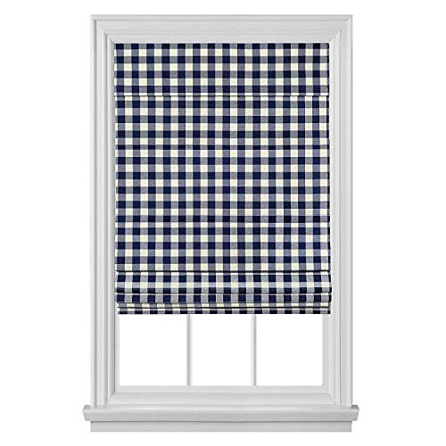 "PowerSellerUSA Cordless Buffalo Plaid Curtains, Roman Shades for Windows, Room Darkening Fabric, Classic Country Plaid Gingham Checkered Design and The Ultimate Farmhouse Decor, Navy Blue, 29"" x 64"""