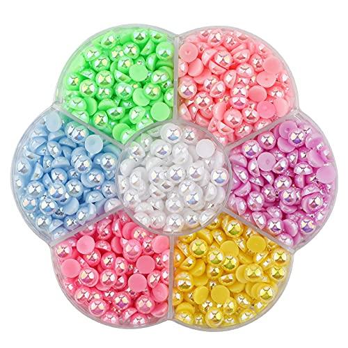SAVITA 750Pcs 6mm Flat Back Pearl Half Round Pearls Beads Satin Luster Loose Beads Gems for DIY Craft Necklaces Bracelets Jewelry Decorations Wedding Dress Nail Art Making