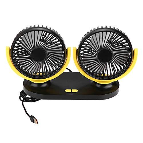 Fydun Mini Ventilatore Auto Camper Ventola Doppio 12V Car Raffreddamento Aria Ventilatori Auto 3 Velocità Regolabile (Grigio & Giallo)