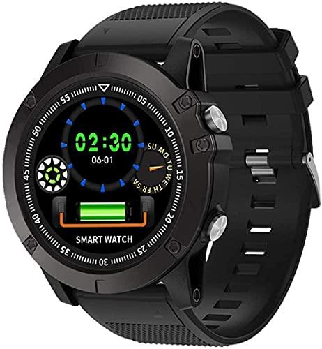 MHPO Reloj inteligente 1 2 pantalla ip68 impermeable podómetro fitness tracker reloj, teléfono Android con monitor de ritmo cardíaco y reloj inteligente para iOS teléfono-negro