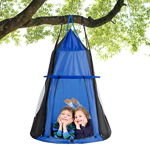 Costzon 2 in 1 Kids Detachable Hanging Chair Swing Tent Set, Hammock Nest Pod Hanging Swing Seat for Boys/Girls, Children Outdoor Indoor Swing Play House with Play Tent, Max Capacity 330 LBS (Blue)