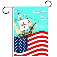 ガーデンヤードフラッグ両面 /28x40in/ ポリエステルウェルカムハウス旗バナー,幸せなコロンブスデーはアメリカの国旗を述べています