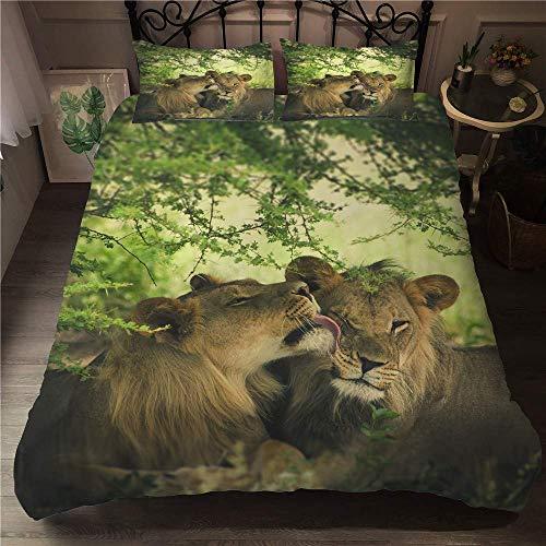 Bedding Set, Microfiber 3D Effect Printed African lion Duvet Cover Set Quilt Cover with Zipper +50x75 Pillow Case Super Soft Comfortable (Double 3pcs-200x200+50x75cm,African animals)