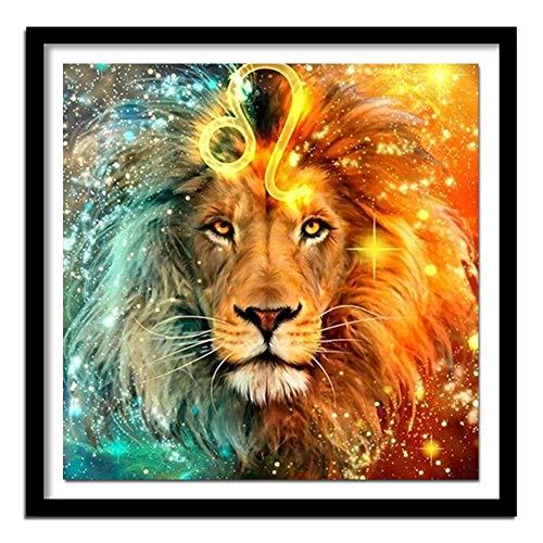 Kswlkj Kit De Pintura De Diamante 5D De Numbers Leo Lion Garden Bordado De Diamantes De Imitación, Para Decoración De La Pared Del Hogar 40x60cm