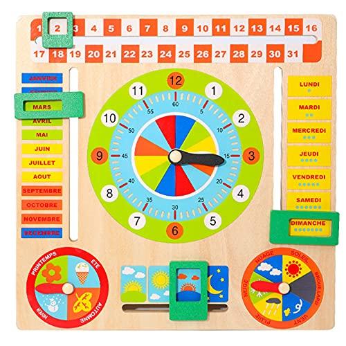LQKYWNA Calendario para Niños Calendario De Madera Reloj Educativo Aprendizaje Tiempo Fecha Temporada Clima Juguete Montessori Juguetes para Niños Regalo