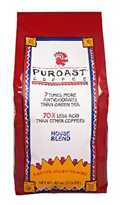 Puroast Coffee Low Acid Whole Bean Coffee, House Blend, High Antioxidant, 2.5 Pound Bag, Red (COMINHKG018778)