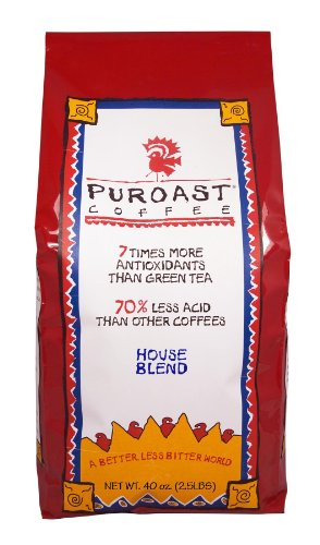 Puroast Coffee Low Acid Whole Bean Coffee, House Blend, High Antioxidant, 2.5 Pound Bag, Red (COMINHKG018778)