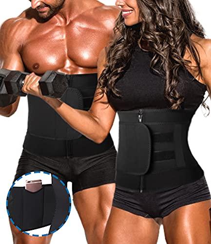 DUROFIT Cinturón de Entrenamiento Faja Moldeadora Mujer Adelgazante Waist Trainer Efecto Sauna Cinturón de Entrenamiento para Fitness Deporte Negro L