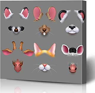 Onete Canvas Prints Painting Artwork 12x12 Cute Animal Ears Nose Color Video Fun Effect Signs Set Template Style Head Giraffe Symbols Mouse Wall Art Printing Home Bedroom Living Room Office Dorm