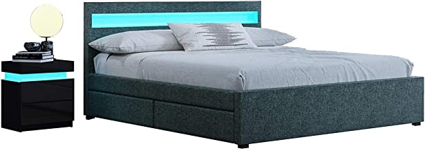 Queen Size Bed Frame PU Leather Headboard Mattress Platform with 4 Drawers Storage LED Lights Grey