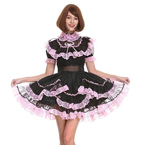 GOceBaby Sissy Mädchen Dienstmädchen Schwarz Organza Abschließbar Durchschauen Kleid Uniform Crossdress (XL)