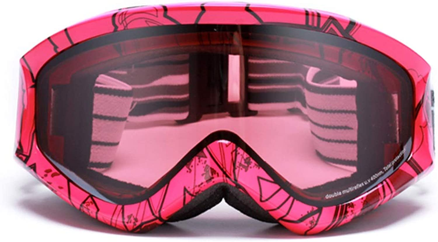 Ski goggles Ski gogglesTPU, PC, can be brought into myopia glasses, double-layer large spherical surface, widened mirror strap, adult universal ski and wind vision wide coated glasses (4 colors ava