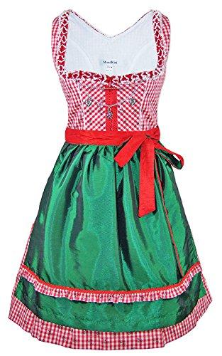 Das Trachtenland Mondkini Petticoat Dirndl Anita 2-TLG. - Rot Grün Gr. 36