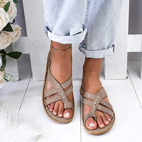 Oaimmk Sandalias de punta abierta para mujer con soporte de arco ortopédico, para verano, con puntera plana, para juanetes, sandalias ortopédicas, para viajes en la playa, gris, 42