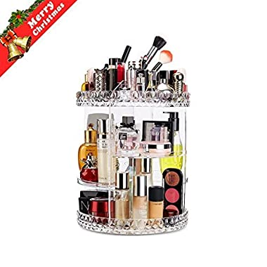 Makeup Organizer 360 Degree Rotating Adjustable Vanity Organizers Bathroom Shelves Countertop Organizer Cosmetic Storage, Crystal Clear