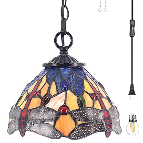 Tiffany Pendant Lighting for Kitchen Island with Plug In Cord Stained Glass Blue Dragonfly Shade Rustic Hanging Light Fixture WERFACTORY Mini Farmhouse Antique Chandelier Swag for Dining Room Hallway