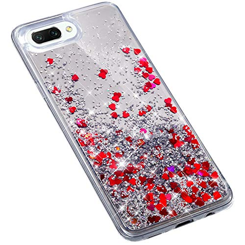 Uposao Huawei Honor 10 Coque en Glitter,Liquide Paillettes Amour Motif Transparente Clear View Strass Brillante Ultra-Mince Silicone TPU Souple Bumper Housse Etui de Protection,Rouge