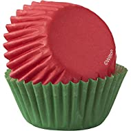 Wilton Red & Green 100-Count Mini Cupcake Liners, 3.17 cm, Red and Green