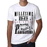One in the City 1949,Cadeaux,Anniversaire,Manches Courtes,Blanc,Homme T-Shirt