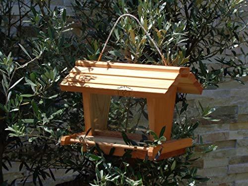 Vogelfutterhaus BTV-X-VOFU2G-hbraun001 Premium Vogelhaus mit großem 3D-SILO + RIESEN-SICHTSCHEIBEN Futterstation Hellbraun behandelt/lasiert braun XXXL Nistkasten KOMPLETT MIT 2 GROSSEN SICHTSCHEI