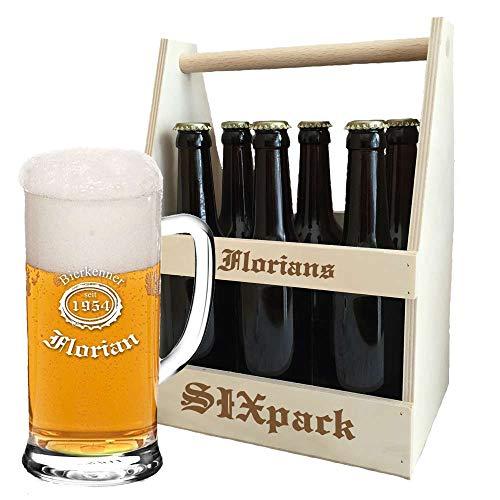 Bierkrug + Holz-Bierträger im Set + inklusive kostenloser Gravur | personalisierte Geschenkidee für Biertrinker | Flaschenträger graviert | Bierglas (B3)