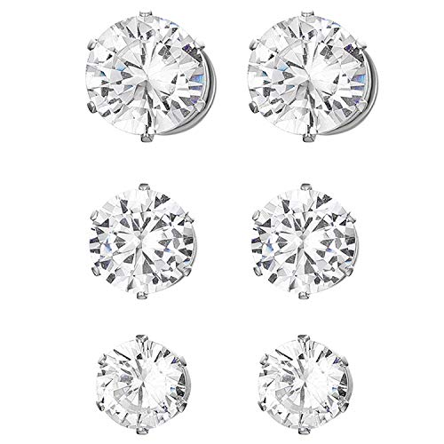 JewelryWe 3Pcs 6mm 7mm 8mm Boucles d'oreilles pour homme et femme Zircon brillant aimant rond en acier inoxydable percé neutres argent
