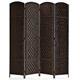 Rose Home Fashion RHF 6 ft.Tall-15.7' Wide Diamond Weave Fiber 4 Panels Room Divider/4 Panels Screen Folding Privacy Partition Wall Room Divider Freestanding 4 Panel, Dark Coffee