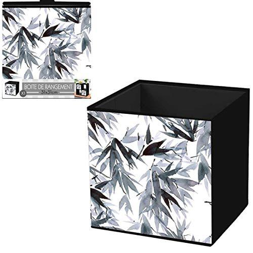 Les Trésors De Lily [Q4501 - Cube de Rangement 'Bambou' Gris Blanc - 31x31 cm