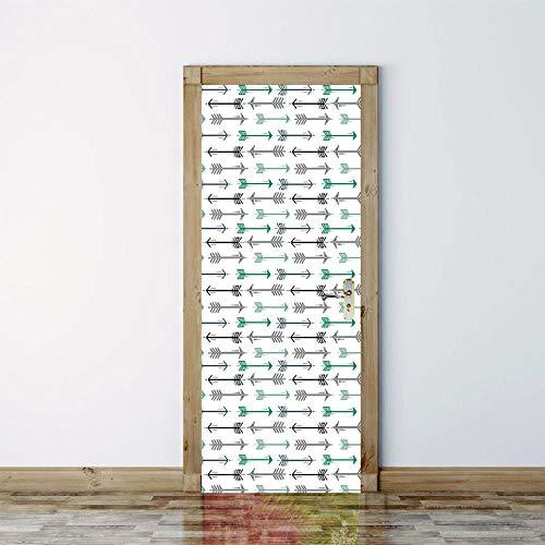 Unieke Dichte Pijl Patroon 3D Deur Sticker Creatieve Home Decoratie Woonkamer Slaapkamer Badkamer Voordeur Verwijderbare Vinyl PVC muurschildering 77x200cm
