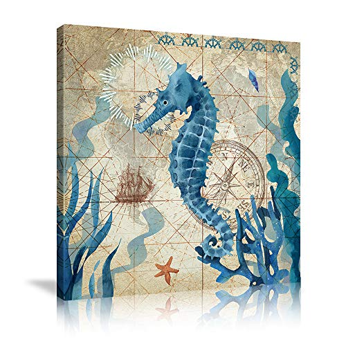 Marine Life Wall Decor Ocean Animal Wall Art Blue Seahorse Canves Painting Sea Animal Poster Seahorse Picture Print Artwork for Ocean Theme Bathroom Bedroom Home Decor Framed Ready to Hang