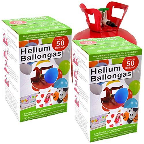 Top Ten 2X Helium-Flasche für ca. 100 Luftballons Folienballons Ballongas 420 Liter (0,42 m³)