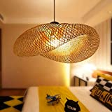 Lámpara Colgante De Bambú Tejida Linterna Antigua Lámpara De Techo Iluminación De Techo Lámpara De Mimbre Con Sombra De Nube Para Comedor Sala De Estar Restaurante,100cm