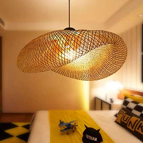 Lámpara Colgante De Bambú Tejida Linterna Antigua Lámpara De Techo Iluminación De Techo Lámpara De Mimbre Con Sombra De Nube Para Comedor Sala De Estar Restaurante,80cm
