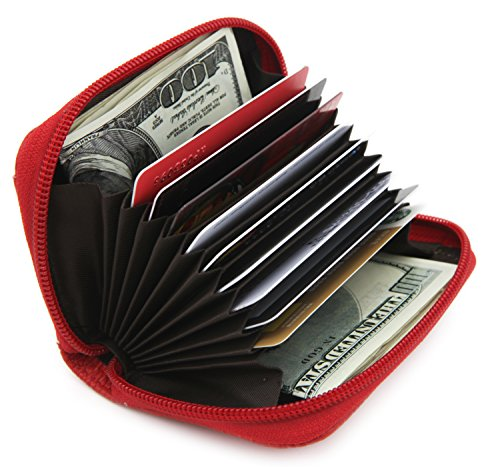 Zhoma RFID Blocking Genuine Leather Credit Card Case Holder Security Travel Wallet - Red