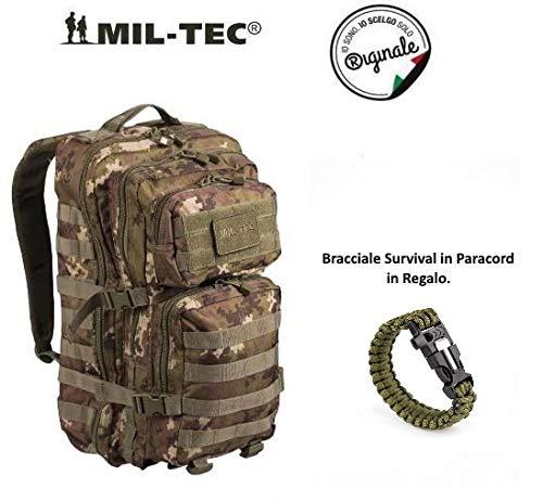 Zaino Incursore Mil-tec Tattico militare 42 Litri 3 Days Vegetato Italiano con Bracciale Survival