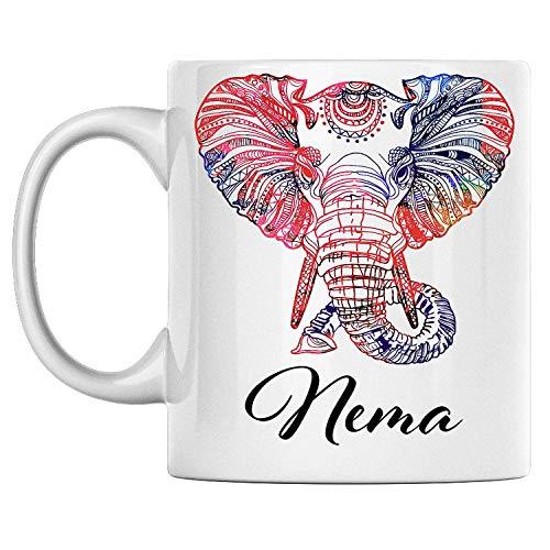 N\A aza de Elefante Personal con Nombre Nema, Taza de café de cerámica Blanca Impresa en Ambos Lados, cumpleaños para él, Ella, niño, niña, Esposo, Esposa, Hombres y Mujeres
