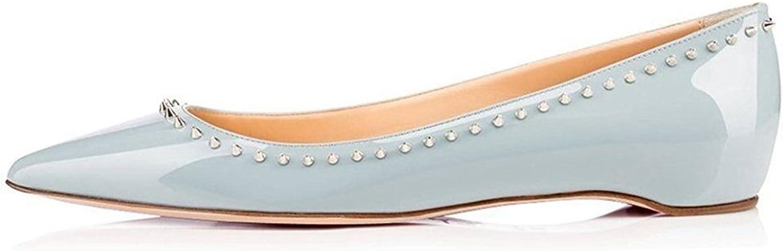 Women's Shallow Patent Leather Flat shoes Rivet Single shoes Leisure Flat Heel Sleeve Overshoes Pumps