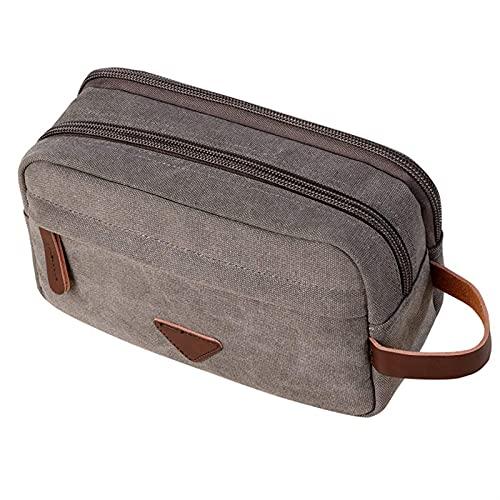 enioysun Neceser Bolsa de Almacenamiento de Aseo de Viaje para Hombres, Bolsa de Almacenamiento cosmética, Bolsa cosmética portátil de Gran Capacidad (Color : Canvas Grey, Size : 26 X 12 X 16cm)