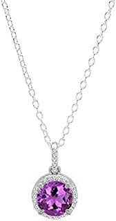 Dazzlingrock Collection 10K 6.5 MM Round Gemstone & White Diamond Ladies Halo Pendant (Silver Chain Included), White Gold
