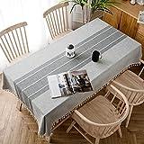 J-MOOSE Mantel de Lino y algodón Resistente con Borla para decoración de Mesa de Cocina, Comedor o Mesa, Lino algodón