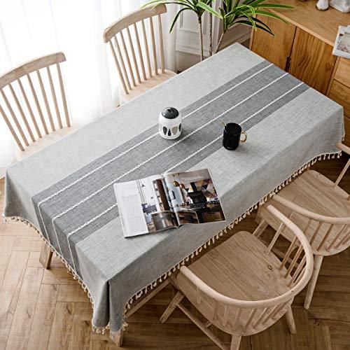 J-MOOSE Tovaglia in Cotone e Lino Anti-Macchia Tovaglia per Tavolo Rettangolare Decorazione Domestica della Cucina (140x180cm, Gray)