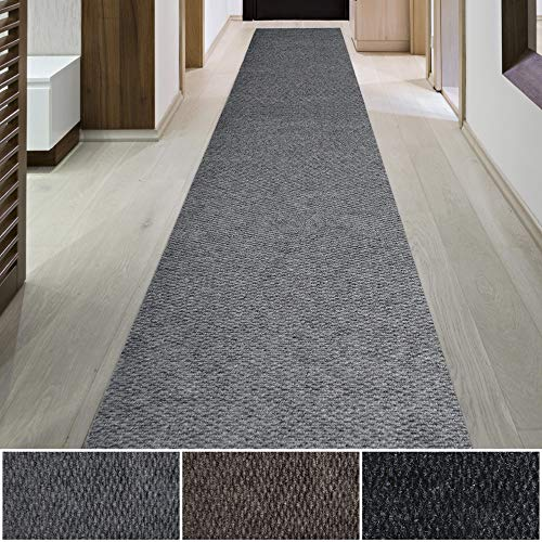 iCustomRug Spartan Weather Warrior Duty Indoor/Outdoor Utility Berber Loop Carpet Runner, Area Rugs, 3ft,4ft,6ft Widths 70 Custom Sizes with Natural Non-Slip Rubber Backing 3 X 8 in Grey